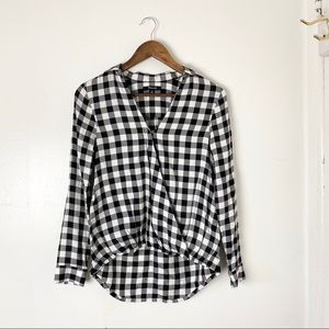 Madewell Black / White Plaid Cross Over Top XS